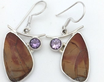 Light Brown Jasper and Amethyst Dangle Earring