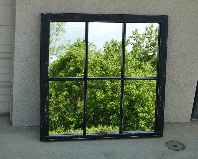 antique window pane mirror black