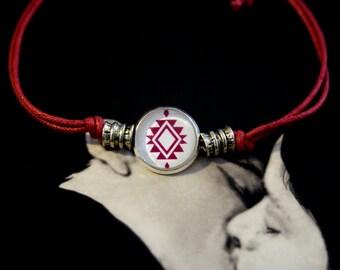 Red string adjustable bracelet center button Mapuche loom design