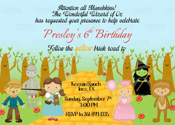Printable Wizard Of Oz Birthday Party Invitation plus FREE blank – Wizard of Oz Birthday Party Invitations