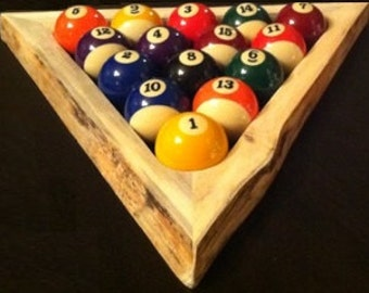 Rustic Pool Ball Rack - Live Edge - Natural Edge - Rustic Pool Table Triangle - Wood Pool Ball Rack (Pool Balls Not Included)
