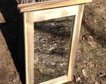 Red Pine Mirror - Rustic Framed Mirror - Bathroom Mirror - Hallway Mirror - Bedroom Mirror - Wall-hung Framed Mirror