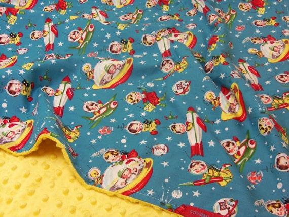 Minky blanket in michael miller retro rockets by for Space minky fabric