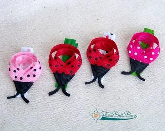 Ladybug Ribbon Sculpture Hair Clip, Small Bug Hair Bow