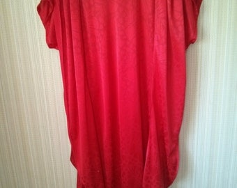 Vintage Red jersey dress/tunic with echarpe