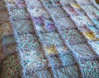 Pastels and flowers flannel large  rag throw