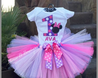 Minnie Mouse First Birthday Outfit, Minnie Tutu, Minnie Tutu Outfit, Minnie Mouse Tutu Set, Baby Minnie Mouse Tutu  MM5