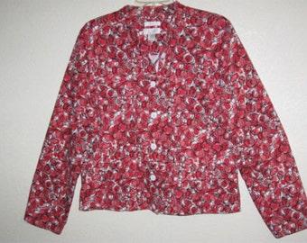 Womens' Christopher & Banks Large (L) Red and Black Spiral Jacket
