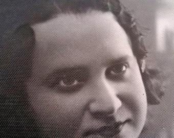 Antique cabinet portrait Jewish woman Photo beautiful lady Vintage black white photography 1930 Collectibles photographic ephemera
