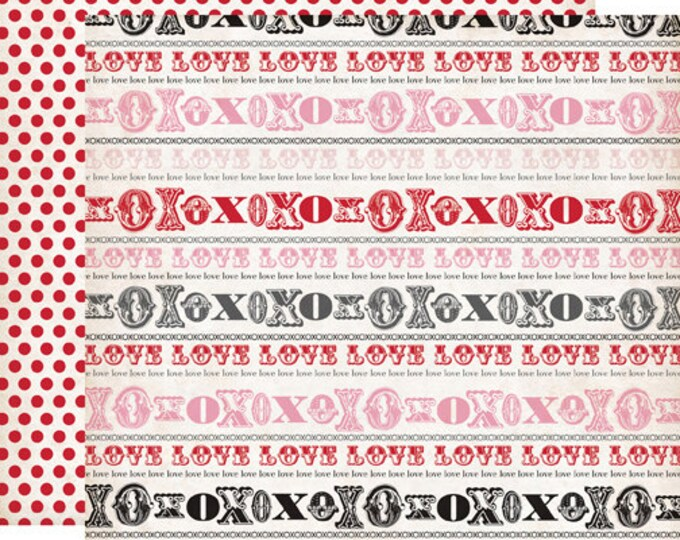 2 Sheets of Echo Park Paper YOURS TRULY 12x12 Valentine's Day Scrapbook Paper - Hugs & Kisses