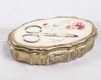 Vintage Small Jewelry Needle Scissors Box Ring Bearer Jewelry Wedding Hand Hammered painted Memory Box Engagement Organizer ohtteam