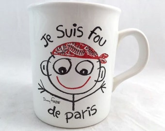 Je Suis Fou De Paris Stickman Red Bandana Coffee Mug I Am Crazy About Paris Cup, Free US Shipping