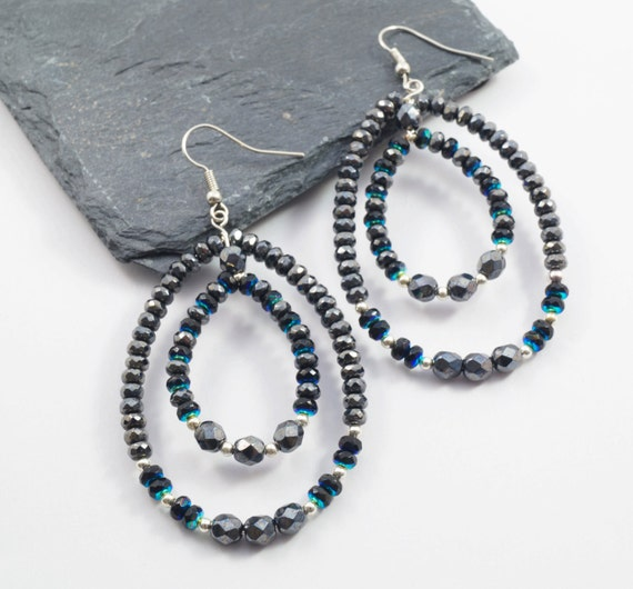 Midnight Blue Double Hoop Earrings With Glass Beads