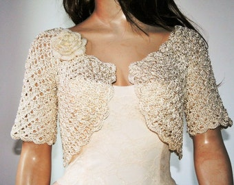 Wedding Bridal Bolero Shrug Lace Crochet Shrug Boleros Ivory