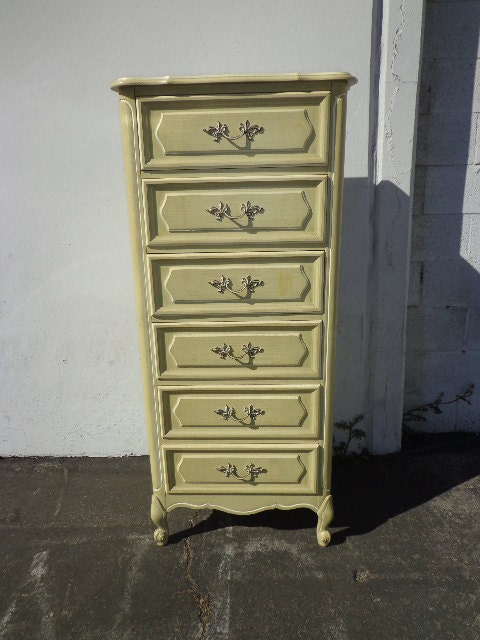 French Provincial Lingerie Chest Tall Dresser Drawers Bedroom