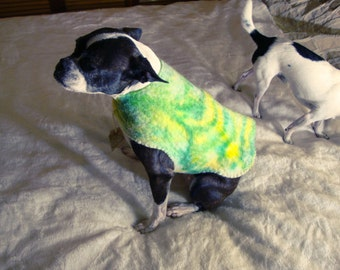 Wool Wet Felted Hand Dyed Boston Terrier and Chichuaua Jackets by FeltLikeItStudio