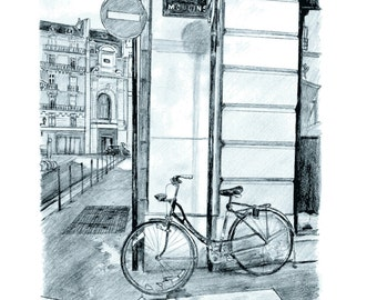 Parisian Bicycle Print illustration