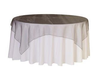 90 inch Square Organza Table Overlay Dark Silver | Wedding Table Overlays