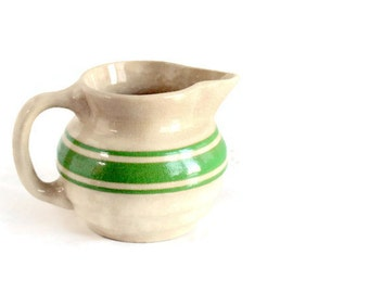 Beehive Cream Pitcher, Green Bands, Saltglaze Pottery