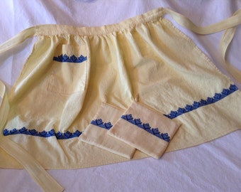 Handmade Vintage Yellow Gingham Half Apron with Matching Potholders Accented with Royal Blue Embroidering