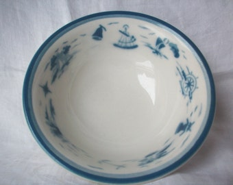 Vintage Nautical Syracuse China Serving Bowl, Airbrush/Shadowtone