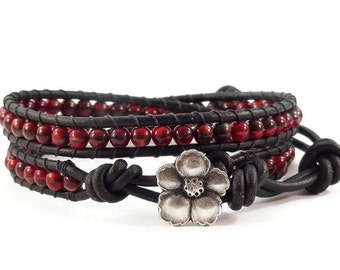 Leather Wrap Bracelet Red and Black Glass Beads Hibiscus Flower Beaded Jewelry