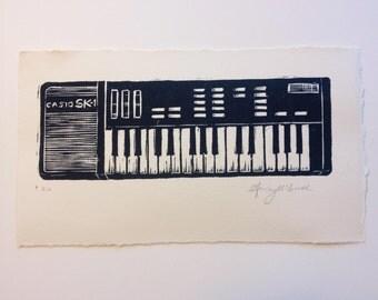 SK-1 Keyboard hand-printed woodcut