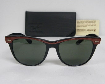 New Vintage B&L Ray Ban Wayfarer II Copper Red/Black W0492 54mm Sunglasses USA