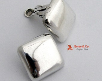 Modern Square Puffy Earrings Sterling Silver Clips