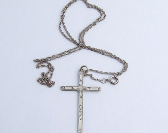 Vintage Cross Pendant With Chain Sterling Silver