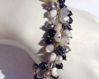 Bracelet Crystal Onyx Mother of Pearl Sterling Silver