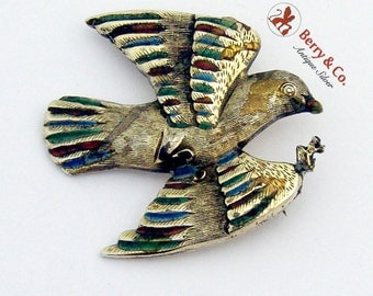 Enamel Bird Brooch Sterling Silver