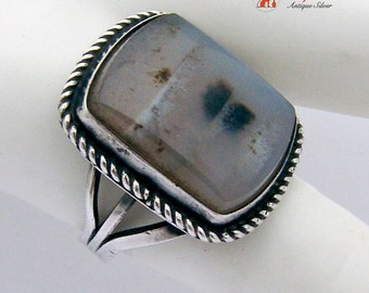 Hand Made Picture Agate Ring Sterling Silver 1980