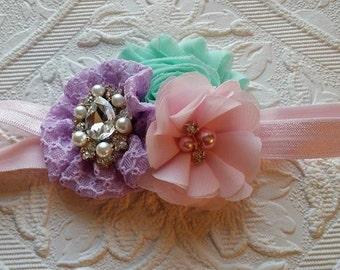 Pastel  Headband/Infant Headband/Newborn Headband/Flower Headband/Girl Headband/Baby Girl Headband/Easter Headband/Baby Headband/Photo Prop