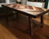 Farmhouse Diamond Mosaic Reclaimed Wood Table