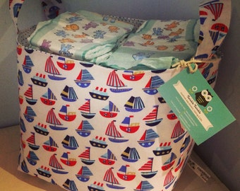 """Nautical Nursery/Toy/Nappy Fabric Storage Basket in """"Little Boats"""" Design"""