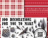 Christmas Origami Paper, make seasonal garlands and displays Red and white folk and plaid design 100 sheets 148x148mm