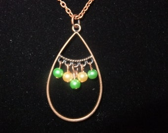 Antique Copper Necklace w/ Green & Yellow Beads
