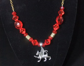 Gryffindor Red & Gold Necklace (G5) - Great Gift for Fans of the Books or Movies!