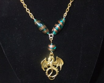 Gold Dragon Necklace with Turquoise