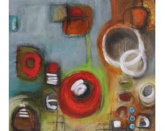 abstract painting gray blue red brown modern original art Leah Fitts painting geometric circles