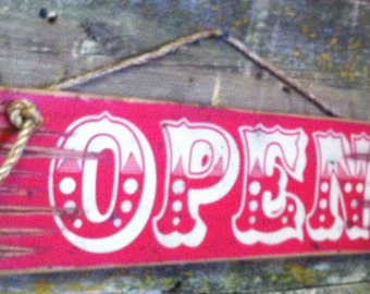 Large Open Sign, Wooden, Western, Antiqued Sign