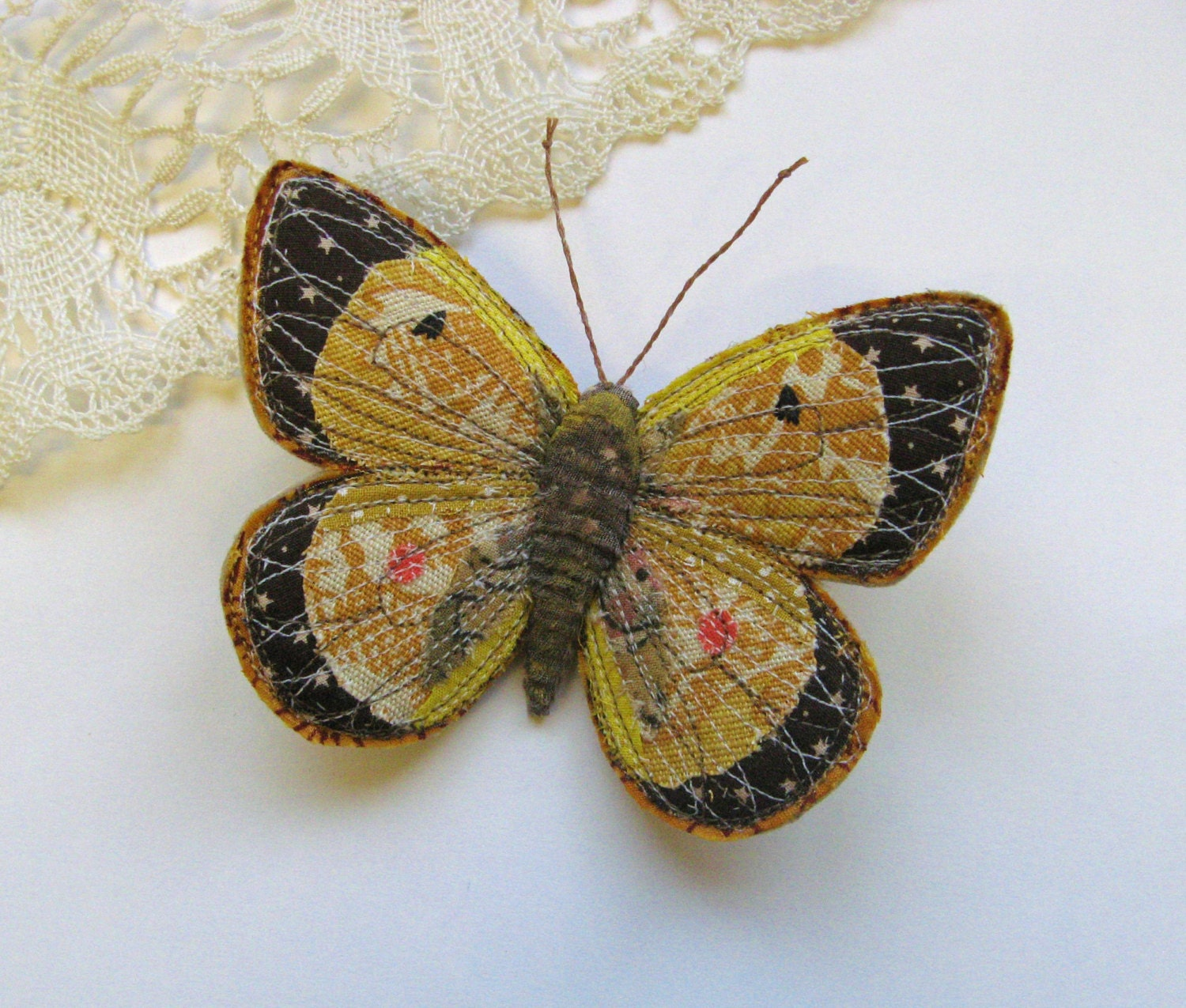 Embroidered butterfly brooch clouded yellow