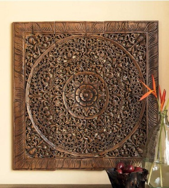 Balinese wood wall art decor decorative carved by siamsawadee