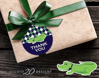 Instant Download Argyle Alligator Thank You Tags, Preppy Alligator Gift Tags, Crocodile Birthday Party or Baby Shower Favor Tags 62A