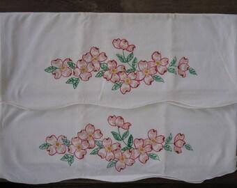 Vintage Hand Painted Dogwood Flower Pillowcases