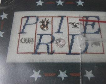 "Unframed, Handmade, ""Pride"" Cross Stitch- 4th of July, USA, July 4th, Holiday, Pride"