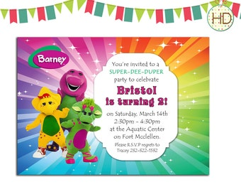 Barney Invitation, Barney Birthday Invitation, Barney and friends Party, Barney Birthday Invite, Rainbow