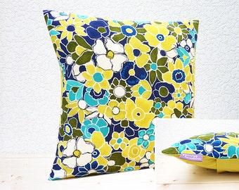 "Handmade 16""x16"" Cotton Cushion Pillow Cover in Navy/Turquoise/Citron Garden Carpet Floral Painter's Canvas Garden Wall Design Print"