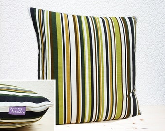 "Handmade 16""x16"" Cotton Home Decor Cushion Pillow Cover in Vibrant Goa Sage Stripe Design Lightweight Upholstery Fabric"
